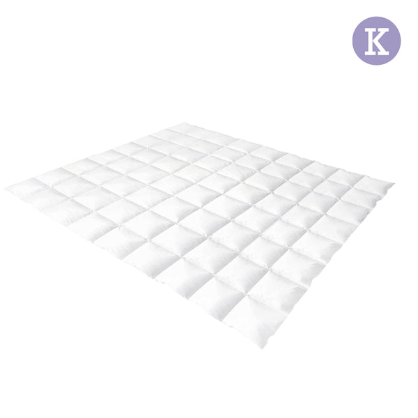 Lightweight Goose Down Feather Quilt King White