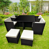 9pc PE Rattan Cube Dining Garden Set