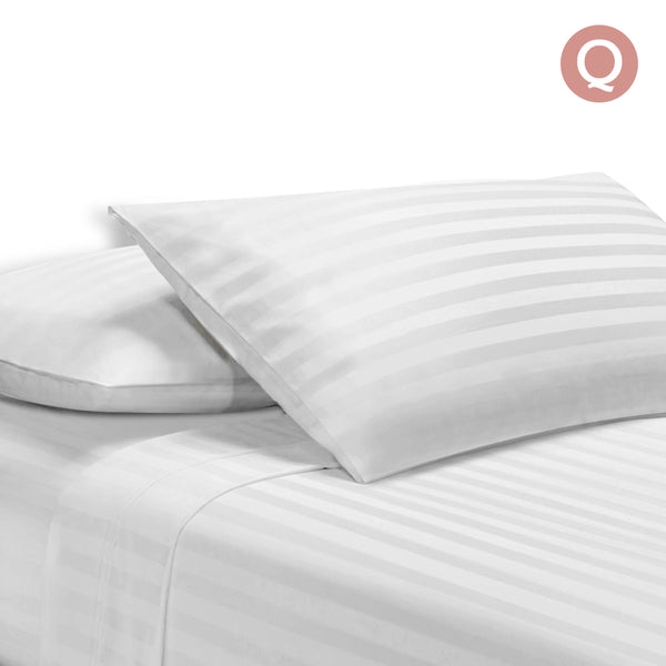 4 Piece Cotton Bed Sheet Set Queen White