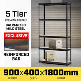 5 Shelf Storage Rack - Galvanized Steel 120x90cm