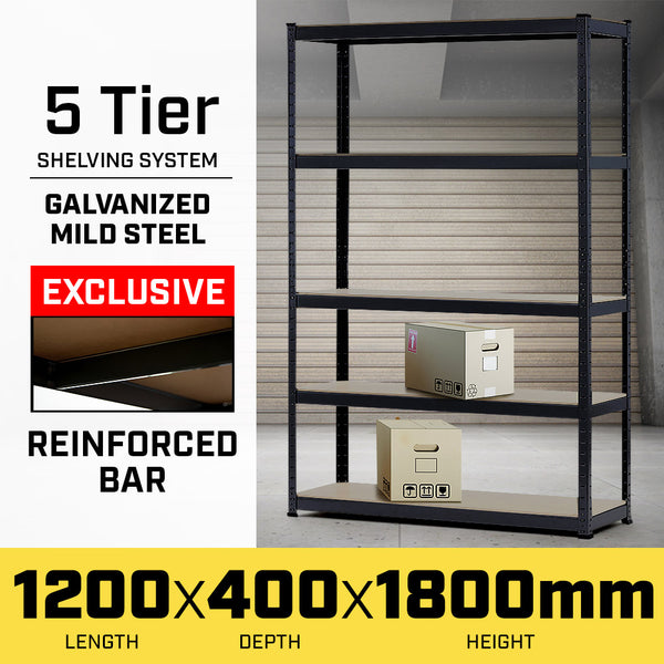 5 Shelf Storage Rack Galvanized Steel - 180x120cm