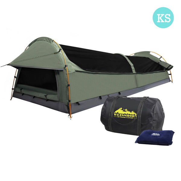King Single Camping Canvas Swag Tent Celadon w/ Air Pillow