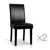 Set of 2 PU Leather Dining Chairs Black