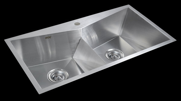 850x450mm Handmade Stainless Steel Topmount Kitchen Laundry Sink with Waste
