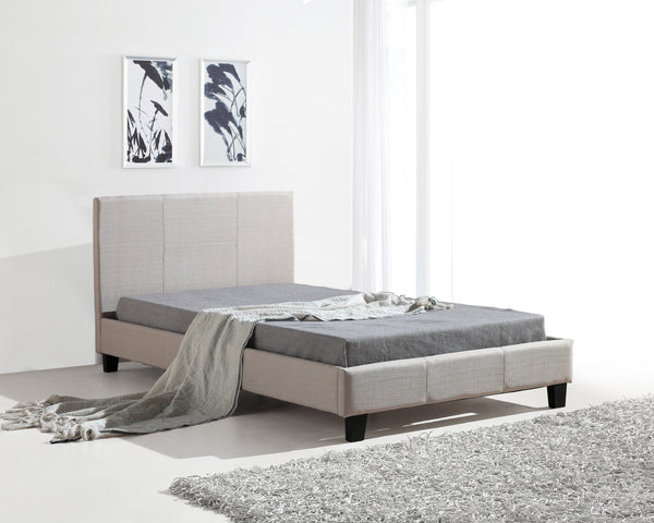 King Single Linen Fabric Bed Frame Beige