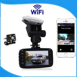 "Wi-Fi Dashboard Dashcam with Dual Front & Rear Cameras, 1080P Display, Viewing via 2.7"" Display or Apple & Android Phone"