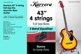 Karrera 43in Acoustic Bass Guitar Sunburst
