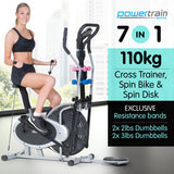 7-in-1 Elliptical cross trainer and exercise bike