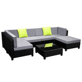 7 pcs Black Wicker Rattan 6 Seater Outdoor Lounge Set Grey