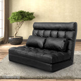 Double-Size-Adjustable-Lounge-Sofa---10-positions-PU-Leather-FLOOR-SBL-170PU-BK