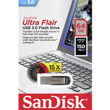 SANDISK 64GB CZ73 ULTRA FLAIR USB 3.0 FLASH DRIVE upto 150MB/s