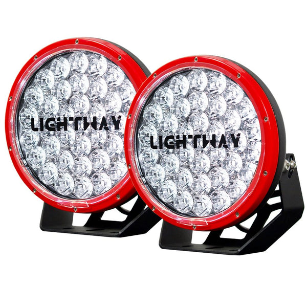 2X 9INCH 370W CREE LED DRIVING LIGHT RED
