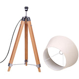 Floor Lamp Wooden Tripod Beige Linen Shade Bamboo Brown