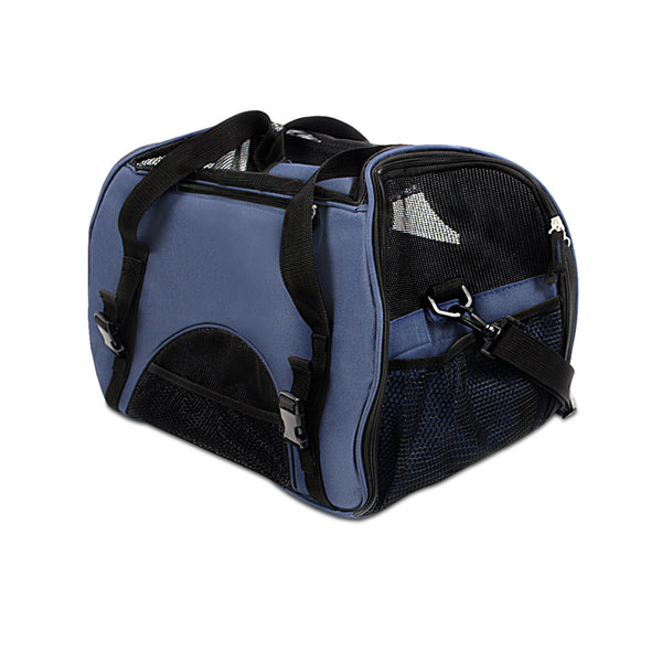 Portable Pet Carrier with Safety Leash - Blue
