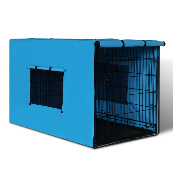 "36"" Foldable Metal Dog Cage with Cover Blue"