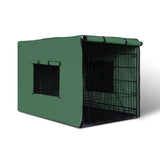 "36"" Foldable Metal Dog Cage with Cover Green"