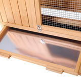 Rabbit-Hutch-Chicken-Coop-Cage-Guinea-Pig-Ferret-House-w/-2-Storeys-Run-PET-GT-WOOD-R036