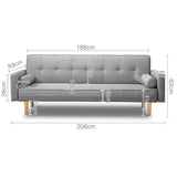 3 Seater Faux Linen Fabric Sofa