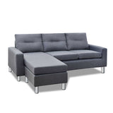Four Seater Faux Linen Fabric Sofa with Ottoman Grey