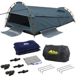 Double-Canvas-Camping-Swag-Tent-Navy-w/-Air-Pillow-SWAG-DOU-GS-NA