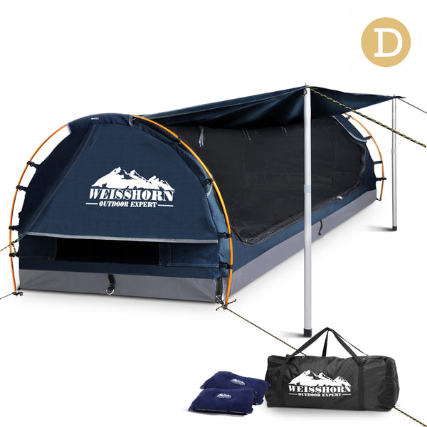 Double Camping Canvas Swag with Mattress and Air Pillow - Blue