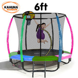 Kahuna Trampoline 6ft with Basketball Set - Rainbow