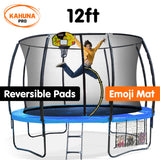Kahuna Trampoline Pro 12ft - Reversible pad, Emoji Mat, Basketball Set