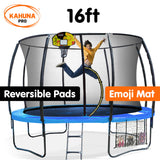 Kahuna Trampoline Pro 16ft - Reversible pad, Emoji Mat, Basketball Set