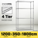 Syncrosteel Chrome Wire Shelving Storage Unit 1200x350mm - 1.8 m high