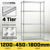 Syncrosteel Chrome Wire Shelving Storage Unit 1200 x 450mm - 1.8m High