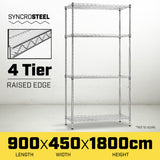 Syncrosteel Chrome Wire Shelving Storage Unit 900x450mm - 1.8m High