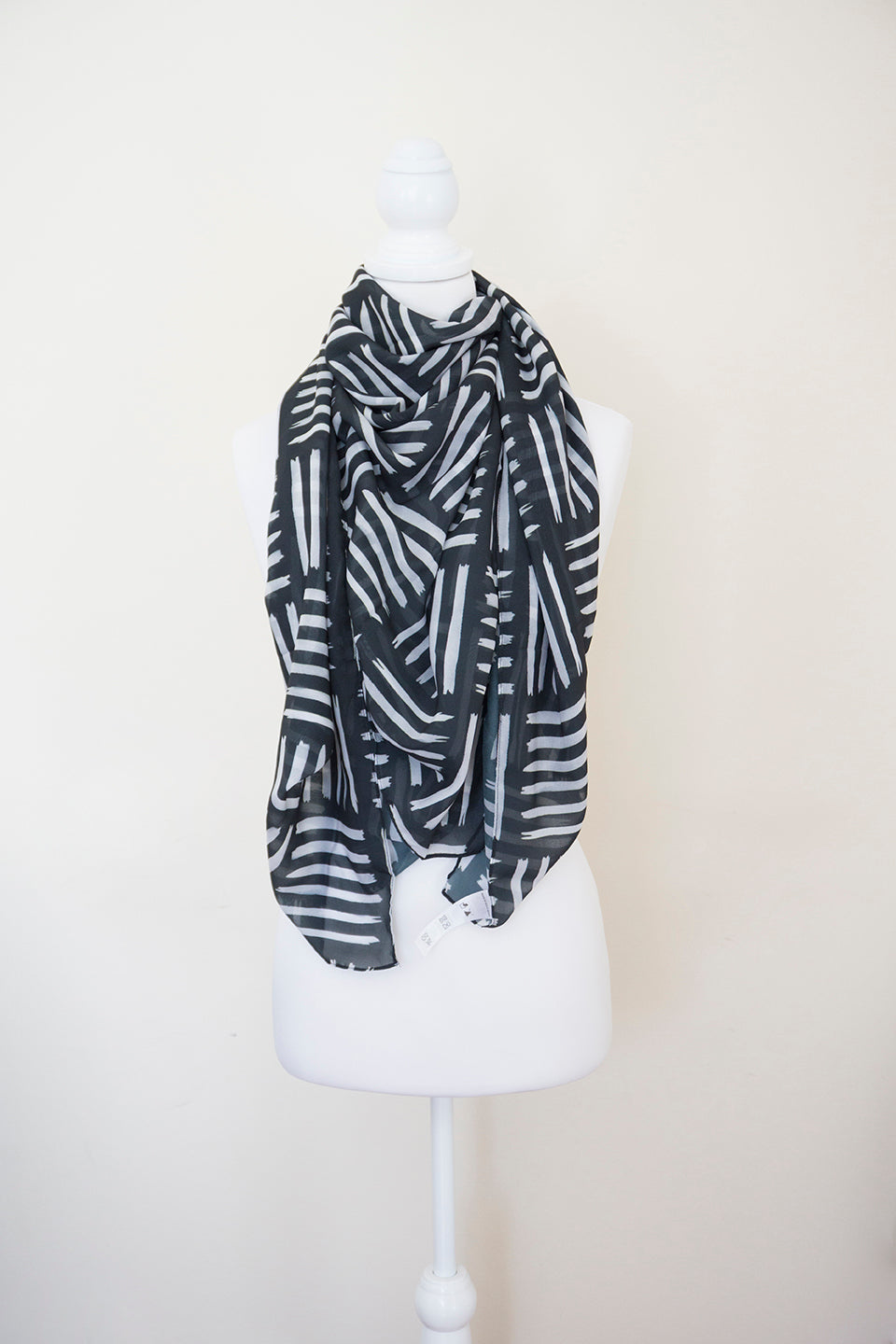 Black and White Large Square Scarf - Project Kate
