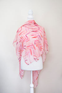 Pink Leaves Large Square Scarf - Project Kate