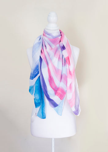 Watercolour Stripe Painted Large Square Scarf - Project Kate