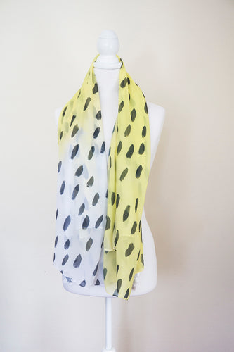 Yellow and Black Large Square Scarf - Project Kate