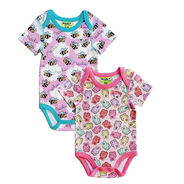 2 PACK:  3 Snap Bodysuit for Baby Girls - Sleep N Play Pajamas & Onesie | Infant to 24 Months - Moodie