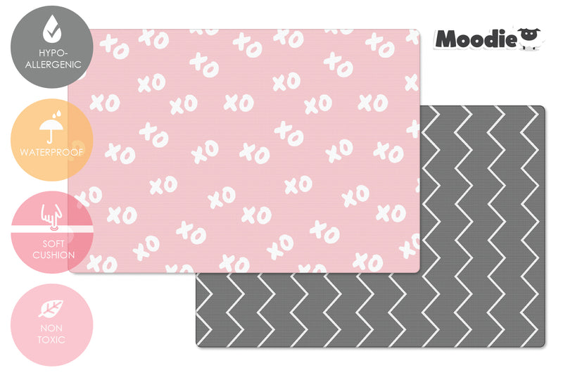 XoXo Zig Zag Luxe Foam Play Mat | Rose Pink & Gray | MEDIUM