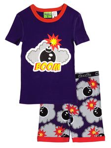 Boom! Pajama Set for Boys - Cotton Pajama Top and Shorts Set | Toddler-10 Yrs - Moodie