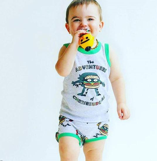 Cheeseburglar 2-Piece Clothing Set for Baby / Cotton Tank Top & Bloomer Set / Boys Pajamas (Infant - 24 Months Toddler) - Moodie