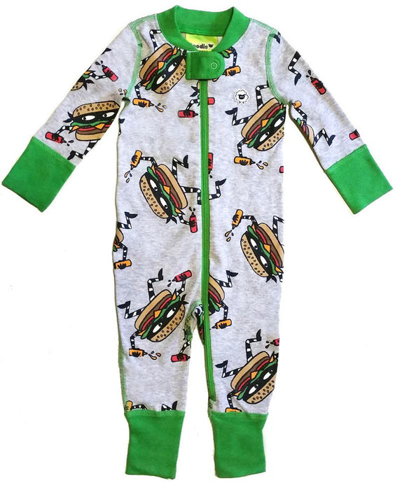 Cheeseburglar 2 Way Zipper Onesies for Baby Boys - Sleep N Play Footless Pajamas | Infant to 24 Months - Moodie