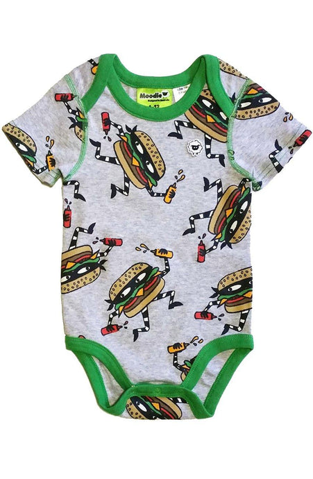 Cheeseburglar 3 Snap Bodysuit for Baby Boys - Sleep N Play Pajamas & Onesie | Infant to 24 Months - Moodie