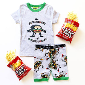 Cheeseburglar Pajama Set for Boys - Cotton Pajama Top and Shorts Set | Toddler-10 Yrs - Moodie