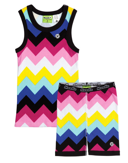 Chevron Pajama Set for Girls - Cotton Pajama Tank Top and Shorts Set | Toddler-10 Yrs - Moodie