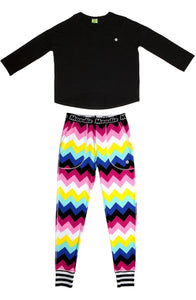 Chevron Pajama Set for Women | Bamboo Pajama Top & Pants Set  - Winter Sleepwear / Loungewear - Moodie