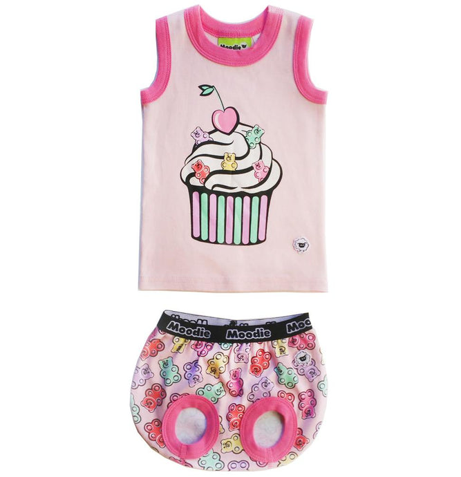 Cupcake 2-Piece Clothing Set for Baby / Cotton Tank Top & Bloomer Set / Girls Pajamas (Infant - 24 Months Toddler) - Moodie