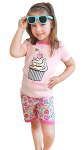 Cupcake Pajama Set for Girls - Cotton Pajama Top and Shorts Set | Toddler-10 Yrs - Moodie