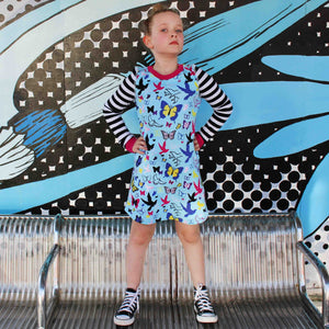 Flutter Fly Long Sleeve Pajama Dress for Girls - Cotton Night Gown | Toddler-10 Yrs - Moodie