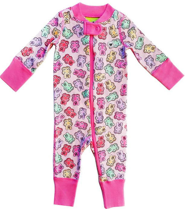 Gummy Bears 2 Way Zipper Onesies for Baby Girls - Sleep N Play Footless Pajamas | Infant to 24 Months - Moodie