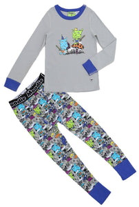 King of the Mushroom Pajama Set for Boys - Winter Pajama Top and Drop Crotch Pants Set | Toddler-10 Yrs - Moodie
