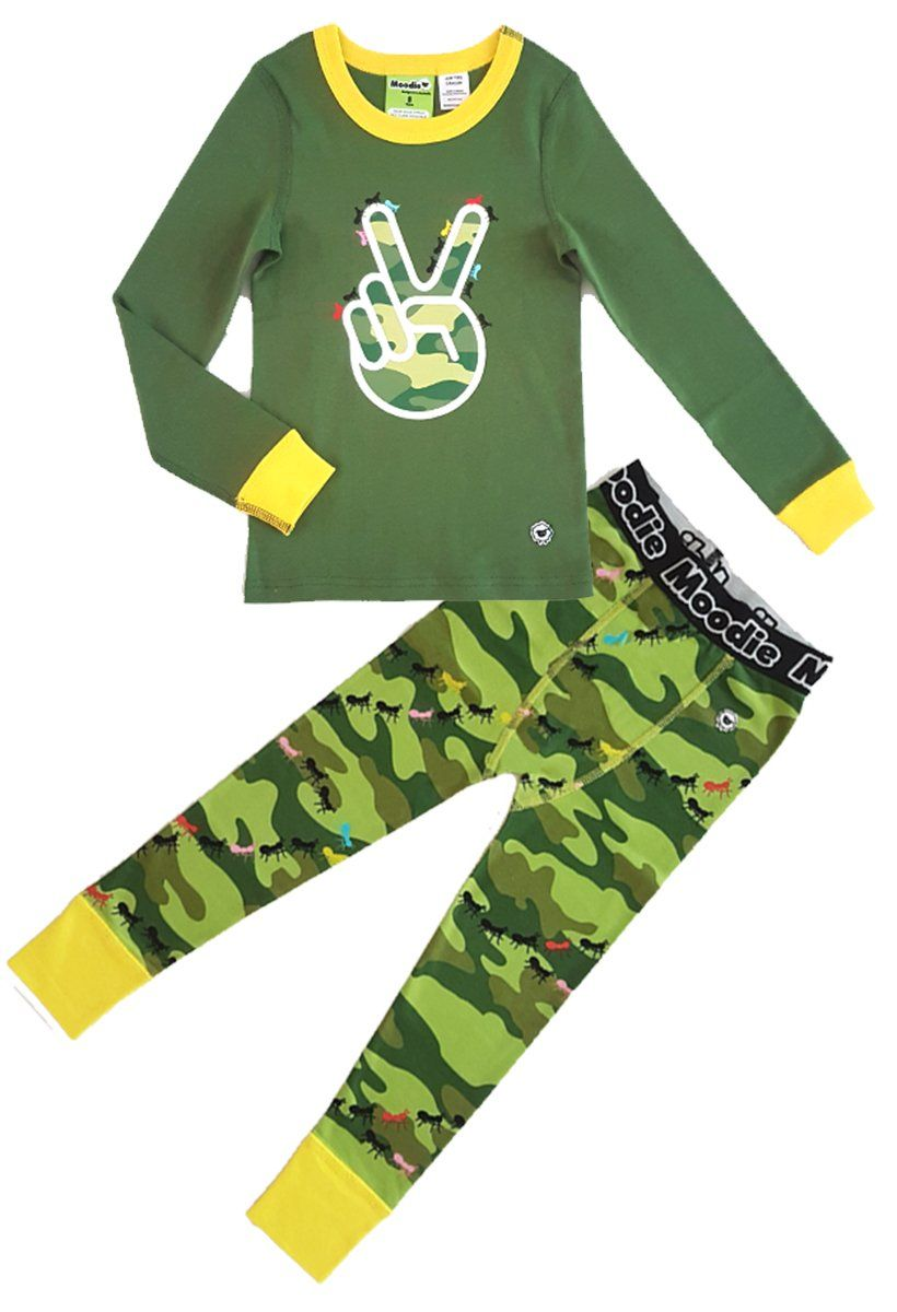 Peace Keeper Pajama Set for Boys - Winter Pajama Top and Drop Crotch Pants Set | Toddler-10 Yrs - Moodie